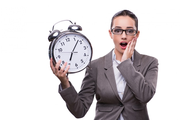 Mulher de negócios com relógio no conceito de negócio Foto Premium