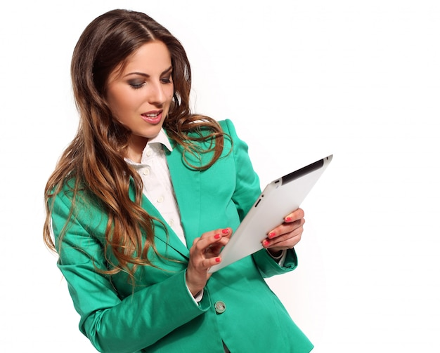Mulher de negócios em terno verde Foto gratuita