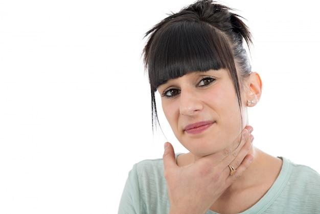 Mulher doente com dor de garganta Foto Premium