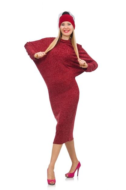 Mulher, em, bordo, vestido, isolado, branco Foto Premium