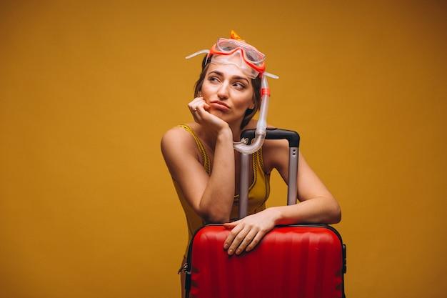 Mulher, em, um, mergulhando máscara, isolado Foto gratuita