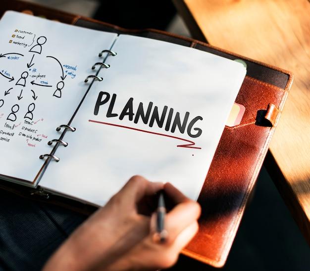 Mulher escrevendo e planejando a estratégia de negócios Foto gratuita