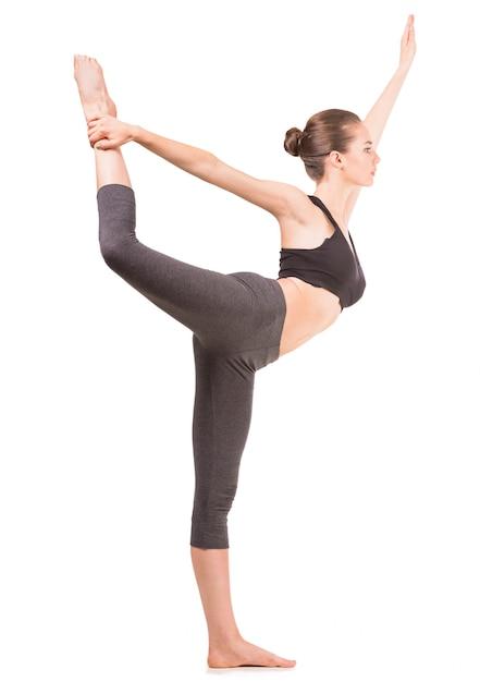 Mulher, fazendo, ioga, exercício Foto Premium
