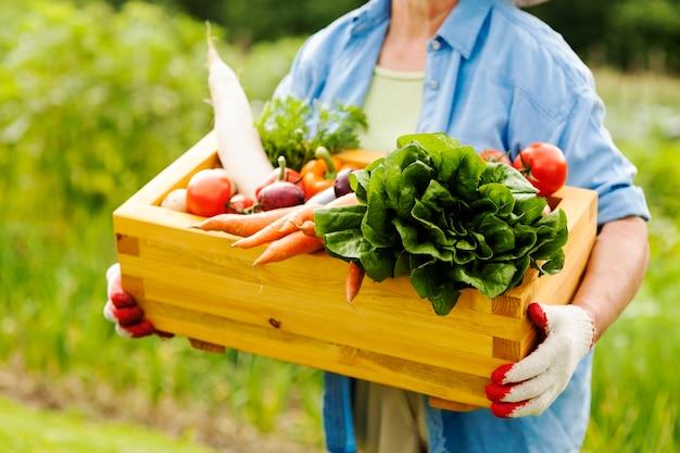 Mulher idosa segurando uma caixa com vegetais Foto gratuita