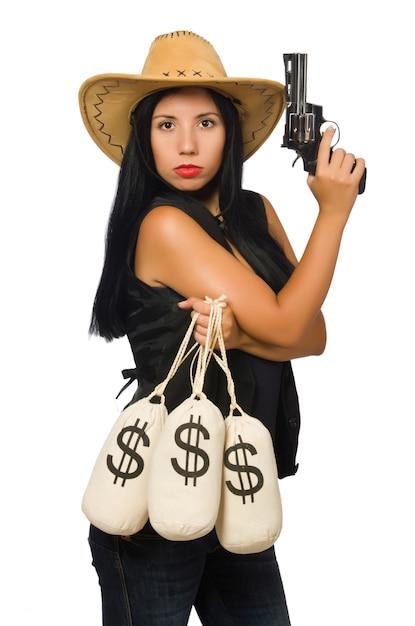 Mulher jovem, com, arma, e, dinheiro, sacos Foto Premium