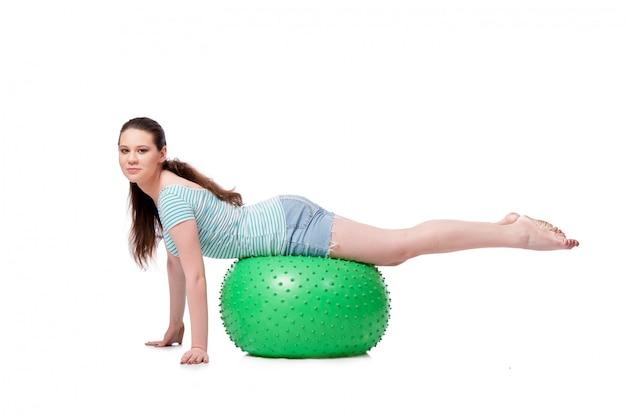 Mulher jovem, em, esportes, conceito, isolado Foto Premium