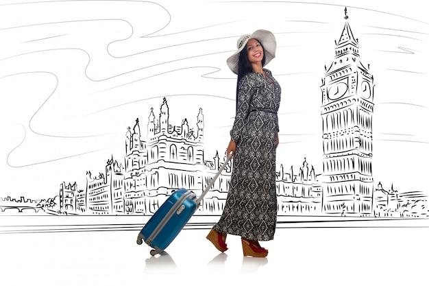 Mulher jovem, viajar, para, londres, em, reino unido Foto Premium