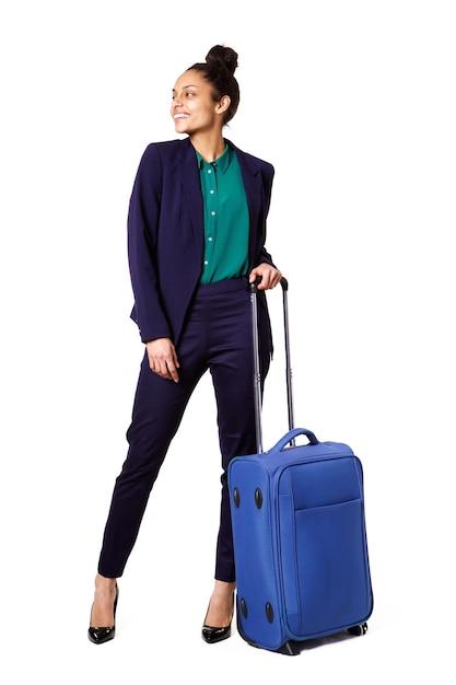 Mulher negócio, ficar, com, saco, olhando Foto Premium