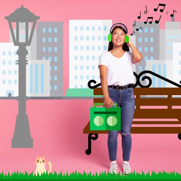 Mulher ouvindo música em fones de ouvido iconos Foto gratuita