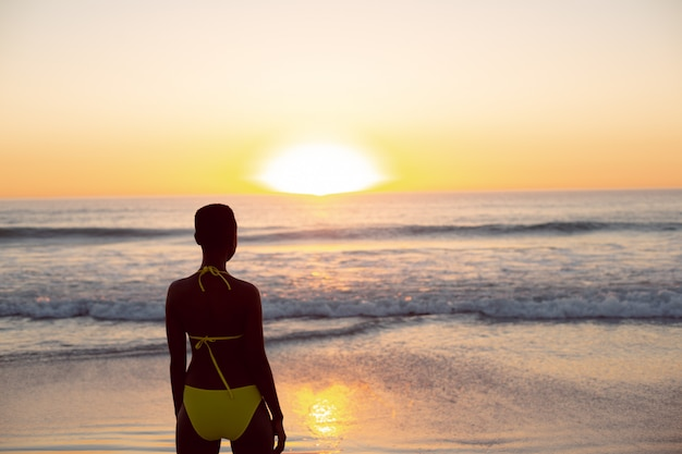 Mulher pensativa em pé de biquíni na praia Foto gratuita