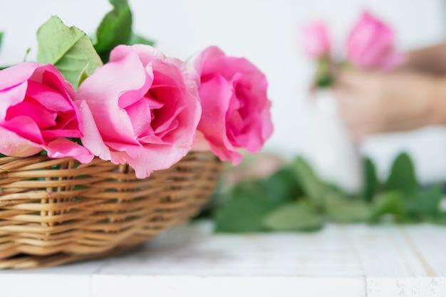 Mulher, pôr, rosas cor-de-rosa, em, branca, vaso, felizmente Foto gratuita