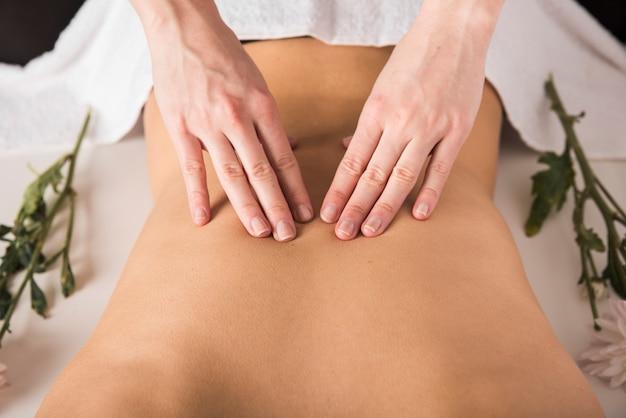 Mulher, recebendo, costas, massagem, de, terapeuta, em, spa Foto gratuita