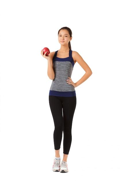 Mulher saudável fitness isolada Foto Premium