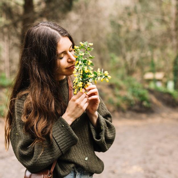 Mulher segura, algum, wildflowers, em, natureza Foto gratuita