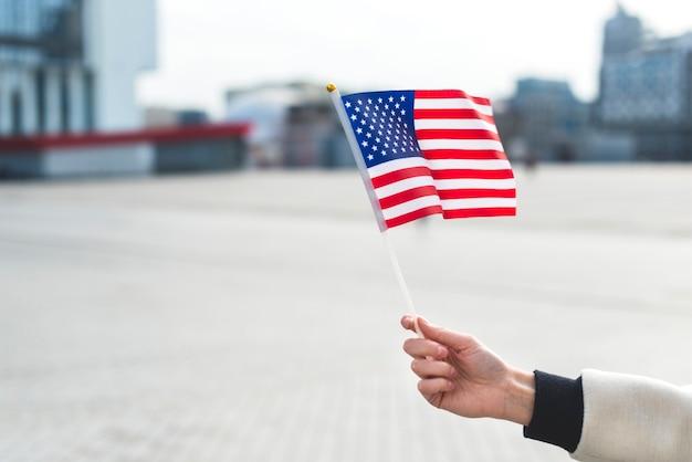 Mulher segura, bandeira, de, américa, enquanto, celebrando, feriado nacional Foto gratuita