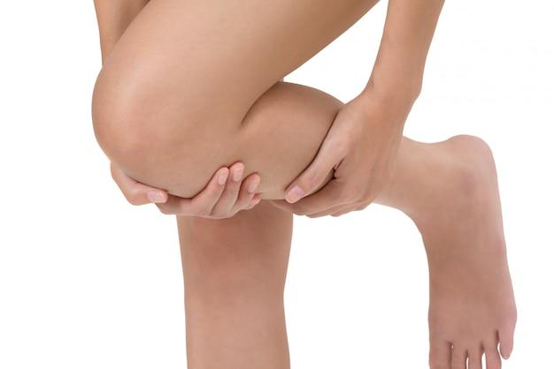 Mulher, segurando, dela, perna, com, massaging, shin, dor, área, isolado, branco Foto Premium