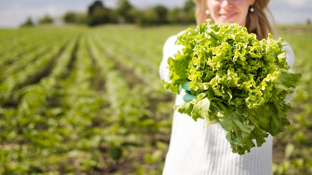 Mulher segurando um vegetal verde com espaço de cópia Foto Premium