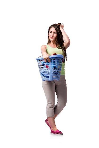 Mulher, sentimento, sressed, após, fazendo, sujo, lavanderia Foto Premium