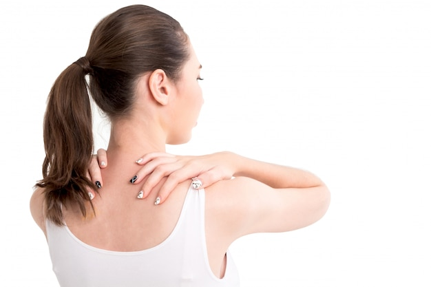 Mulher, sofrimento, de, pescoço, dor, isolado, branco, fundo Foto Premium