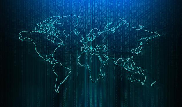 Mundo azul cyber circuito futuro conceito de tecnologia fundo Foto Premium