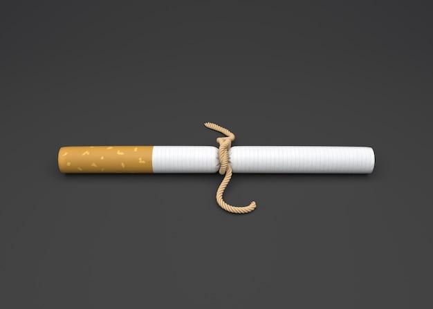 Mundo sem tabaco dia, cigarro com corda. Foto Premium