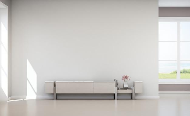 Muro de concreto branco vazio na casa de férias ou na vila de férias. Foto Premium