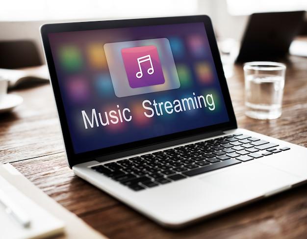 Música digital que flui o conceito em linha do entretenimento dos multimédios Foto gratuita