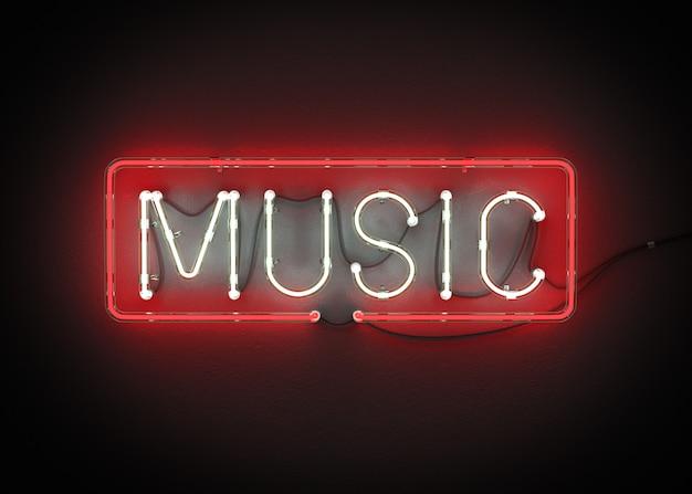 Música feita de renderização de néon alfabeto 3d Foto Premium