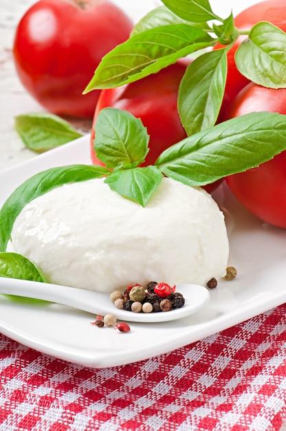 Mussarela, tomate e folhas de manjericão fresco Foto gratuita