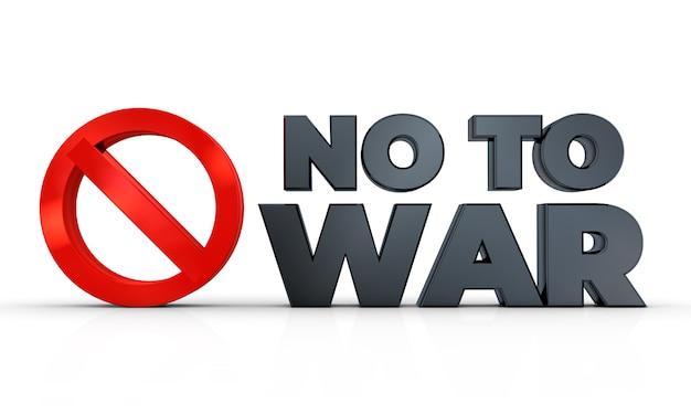 Não ao sinal de guerra isolado na renderização de ilustração 3d fundo branco Foto Premium