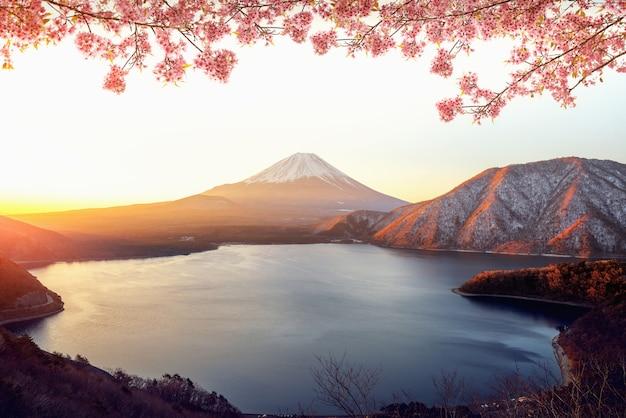 Nascer do sol sobre a montanha fuji san e sakura rosa Foto Premium