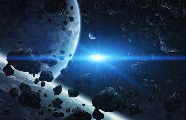 Nascer do sol sobre o grupo de planetas no espaço Foto Premium