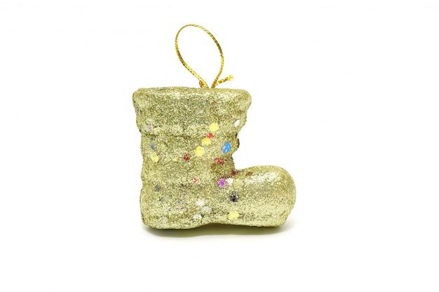Natal de bota do papai noel amarelo isolado no branco Foto Premium