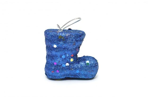 Natal de bota do papai noel azul isolado no branco Foto Premium