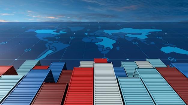 Navio de carga porta-contêineres em negócios de importação exportação logística no mapa do mundo digital Foto Premium