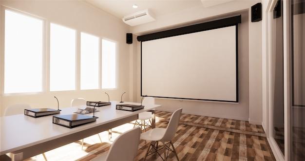 Negócio do escritório - sala de reunião bonita da sala de reuniões e tabela de conferência, estilo moderno. renderização 3d Foto Premium