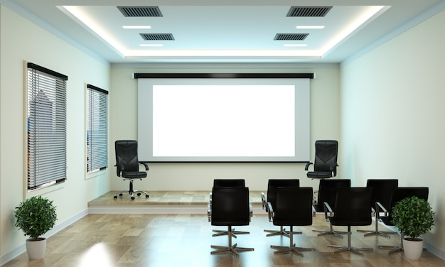 Negócio do escritório - sala de reunião bonita da sala de reuniões e tabela de conferência, estilo moderno. Foto Premium