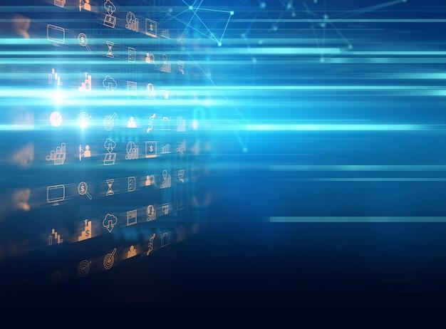 Negócios e aprendizagem ícone no fundo azul tecnologia Foto Premium