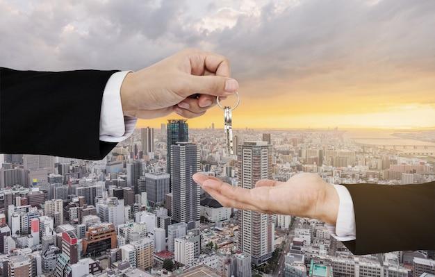 Negócios imobiliários, aluguel residencial e investimento Foto Premium