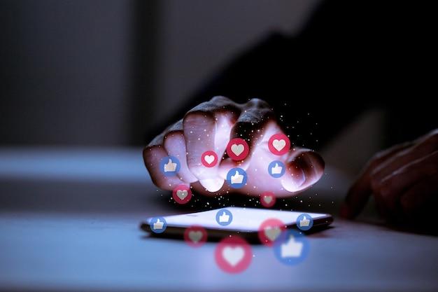 Negócios usando smartphone, conceito de inovação de tecnologia de rede social de mídia social. Foto Premium