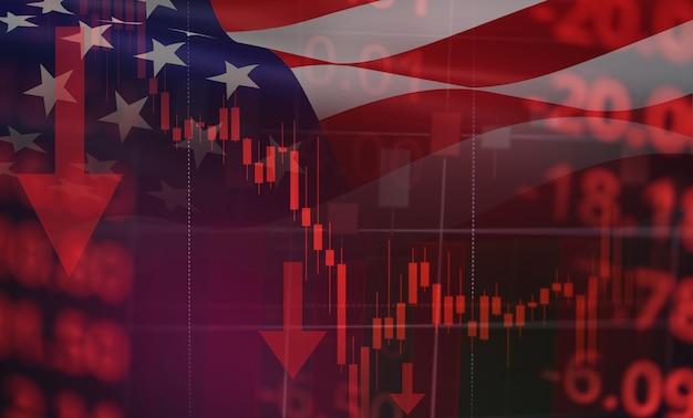 Negócios vela vara gráfico gráfico do mercado de ações eua recessão economia estoque crash vermelho mercado comércio guerra econômica mundial financeiro - crise de ações de negócios e mercados para baixo coronavirus ou covid-19 Foto Premium