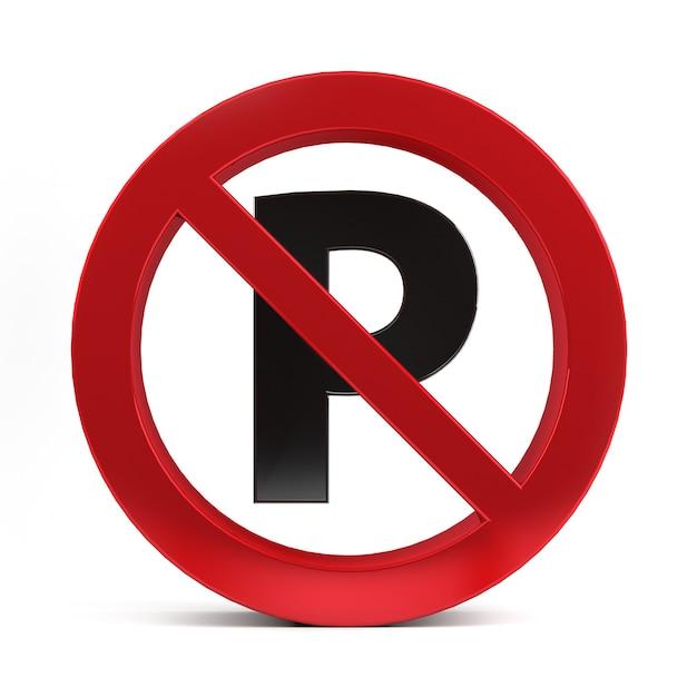 Nenhum sinal de estacionamento isolado na renderização 3d do fundo branco. Foto Premium