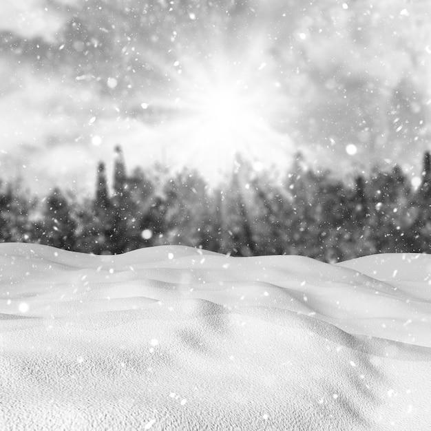 Neve 3d contra uma paisagem de inverno desfocado Foto gratuita