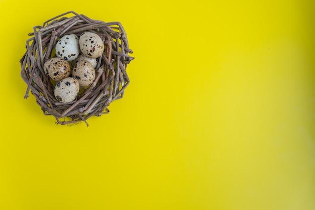 Ninho de codorna com ovos sobre o fundo amarelo. postura plana com espaço de cópia para cartões postais e design Foto Premium