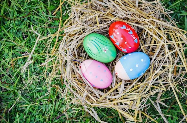Ninho ovo colorido decorado festivo na grama Foto Premium