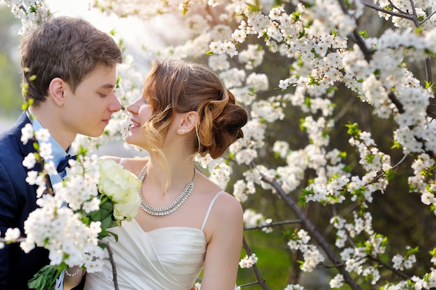 Noiva e noivo andando no jardim primavera florescendo. namorados namoro Foto Premium