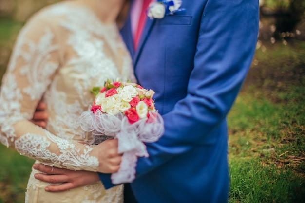 Noiva e noivo dia do casamento Foto Premium