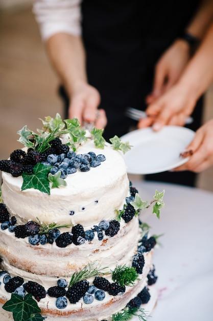 Noiva noivo, corte, bolo casamento, com, mirtilos Foto gratuita