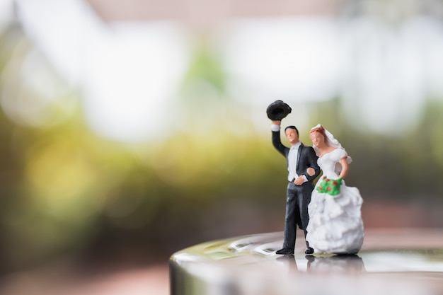 Noiva noivo, par, ficar, ligado, a, fase Foto Premium
