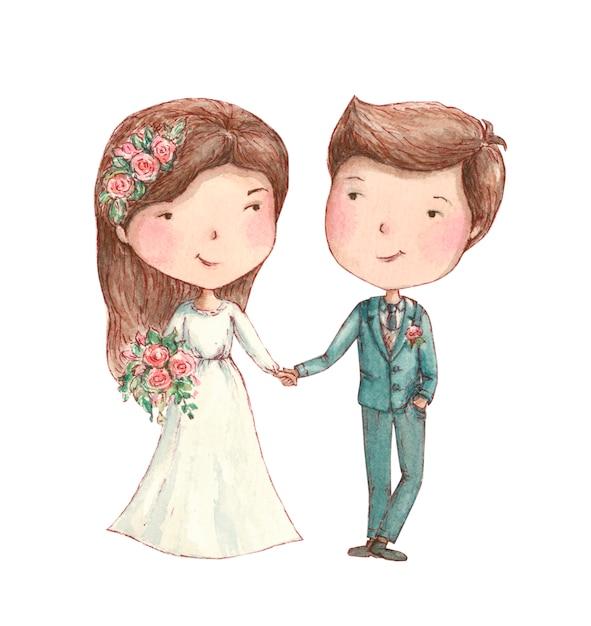 Noiva noivo, sorrindo, com, flores Foto Premium